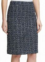 DKNY Womens Tweed Pencil Skirt Blue Size 10