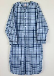 Brooks Brothers Mens Night Shirt Pajamas Summer Lightweight Blue Plaid Large NEW