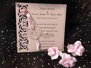 WEDDING INVITATION VINTAGE  PINK BLUSH  & WHITE LINEN CARD  LASER CUT