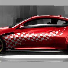2x Racing Flagge 190cm Karos Seitenaufkleber Auto Aufkleber Tuning Folie DUB S6