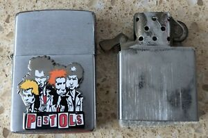 Original Zippo Brushed Chrome Lighter - Customised for The Sex Pistols - used