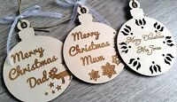 3 x wooden Christmas personalised bauble, gift tags, decoration, tree ornaments