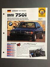 "1987 > BMW 750i Sedan IMP ""Hot Cars"" Spec Sheet Folder Brochure Awesome L@@K"