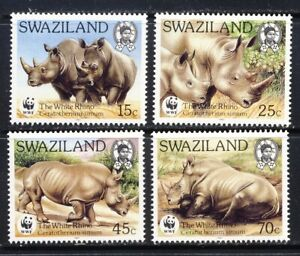 Swaziland beautiful WWF RHINO set mnh vf complete 25.75