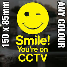 SMILE! YOU'RE ON CCTV VINYL STICKER - SHOPS PUBS HOTELS CAFES - ANY COLOUR
