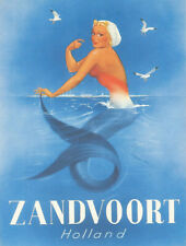 Vintage Zandvoort Holland mermaid travel poster reproduction metal sign