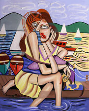 WAITING FOR MY SHIP TO COME IN ORIGINAL PAINTING WOMAN DOG BOATS  ANTHONY FALBO