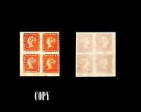 MAURITIUS, 1848, 1p Orange Vermilion, BLOCK OF 4 ,  COPY