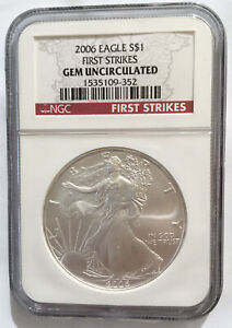 2006 US $1 Silver Eagle NGC GEM UNCIRCULATED FIRST STRIKE. FREE Shipping