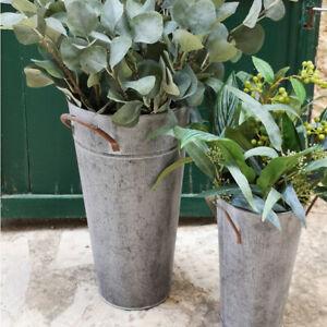 Round Zinc Florist Bucket w/ Handles, Tall Rustic Grey Metal Tub, Flower Storage