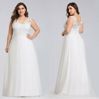 Ever-Pretty Long Plus Size Lace Wedding Dress V Neck Sleeveless  Prom Dress Gown