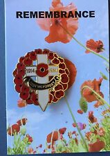 Poppy Wreath with Cross 1914-2014  Remembrance Day Lapel Pin Badge * ANZAC DAY