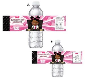 10 BLACK BOSS BABY GIRL PINK BIRTHDAY PARTY FAVORS WATER BOTTLE LABELS SUPPLIES