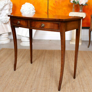 Mahogany Desk Writing Table Bevan Funnell Reprodux Inlaid Console Antique