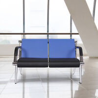 2-Seat Waiting Room Chair PU Leather Office Reception Airport Bank Bench Blue