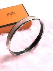 HERMES Emaueu Bracelet Bangle Silver Enamel