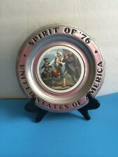 Pewter Plate Collectible Spirit Of 76 USA Wilton Columbia Vintage