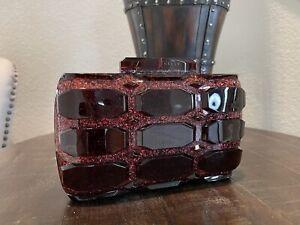 GUCCI Aristrographic Red Burgundy Glittered Plexiglass Box Clutch