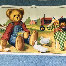 Daisy Kingdom Tractor Teddy Nursery Baby Crib Bumper Cotton Fabric By the Yard
