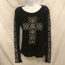 Vocal Thermal Shirt Top Black Cross Rhinestones Bling Size S Made In The USA