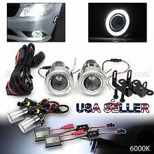 "1 PAIR EURO STYLE 3"" PROJECTOR FOG LIGHTS WHITE LED HALO DUAL SWITCH + 6000K HID"