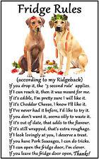 "Rhodesian Ridgeback Dog Gift - Large Fridge Rules flexible Magnet 6"" x 4"""
