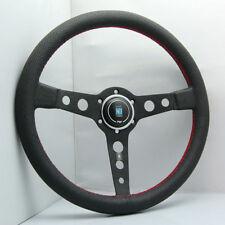 340mm ND Black Spoke Leather Flat Steering Wheel For MOMO Hub OMP Racing Driftin