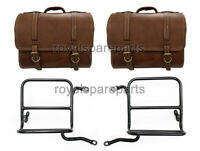 Royal Enfield Classic 350cc 500cc Genuine Leather Pannier Bags Pair With Fitting