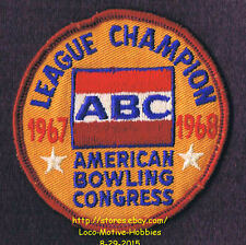 LMH PATCH Badge  1967 1968 ABC LEAGUE CHAMPION  American Bowling Congress Champs