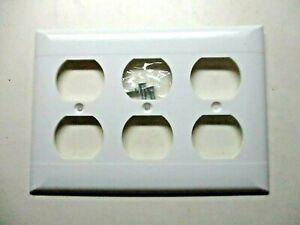 Sierra 1950s White Bakelite 2 Lines 3-Gang Outlet Plate Wall Box Cover MCM Vtg