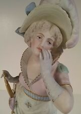 Vion & Baury Antique French Marked Bisque Porcelain Figurine Statue Woman w/ Fan