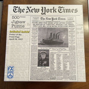 """The New York Times """"Titanic Sinks"""" 500 Pc Puzzle by FX Schmid - 2006 - Complete"""