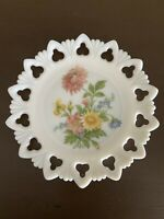 Vintage Kemple Floral White Milk Glass Open Club Lace Edge Serving Plate 9.5""
