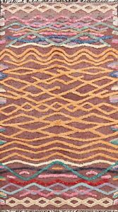 Abstract Modern Copper Brown Moroccan Wool Hand-Knotted Oriental Area Rug 6'x10'