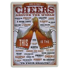 Vintage Plaque - How to Say Cheers - Man Cave wall Plaque 20cm x 30cm
