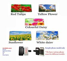 Spring flower phone case rose tulip poppy daisy leather wallet flip mobile case