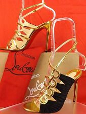 NIB LOUBOUTIN TINA CAGE 100 GOLD PATENT LEATHER BLACK SUEDE SANDALS PUMPS 37.5