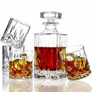 5 PC Italian Crafted Crystal Whiskey Decanter & Whiskey Crystal Glasses Set