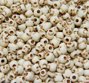 Ivory Skull Pony Beads Brown Ant. made in USA Halloween crafts paracord survival
