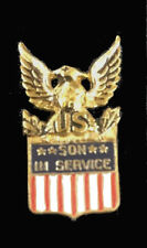 Son Service Sterling Silver Pin Hat Mom Dad Veteran Patriot War USA Army Navy US