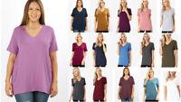 1X 2X 3X Women's Soft Loose Fit Long Basic T-Shirt V-Neck Short Sleeve Tunic