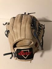 Soto Leather Baseball/Softball Glove. Pre Owned. Light tan with blue gray ties