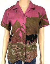 Womens Vintage Top Elephant Safari Earthy Boho Button Down Size Medium