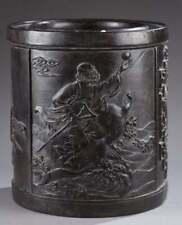 Chinese Zitan Floral Tan Wood Brush Pot.