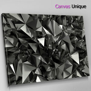 AB297 Grey Black Geometric Modern Abstract Canvas Wall Art Framed Picture Print