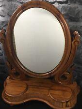 Antique Wooden Toilet Swing Mirror Tabletop Storage