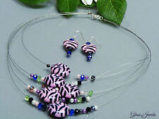 Glass Jewels Silber Schmuckset Kette Ohrringe Collier Animal Zebra Pink  #E017