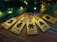 Set of 5 Personalised Wooden Christmas Tags Gift Name