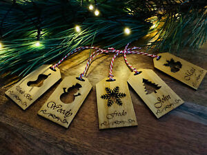 Set of 5 Personalised Wooden Christmas Tags