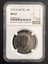 "1972-D Kennedy Half Dollar NGC MS-62 ""NO FG"" (FS-901) Mint Error Die Crack,"
